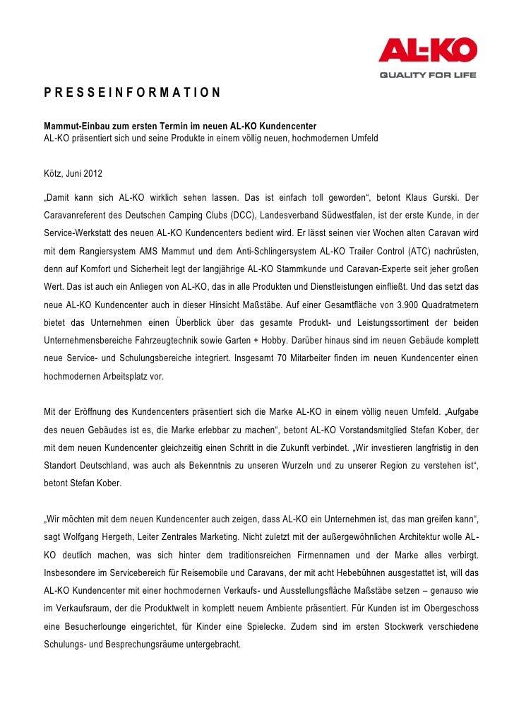 PRESSEINFORMATIONMammut-Einbau zum ersten Termin im neuen AL-KO KundencenterAL-KO präsentiert sich und seine Produkte in e...