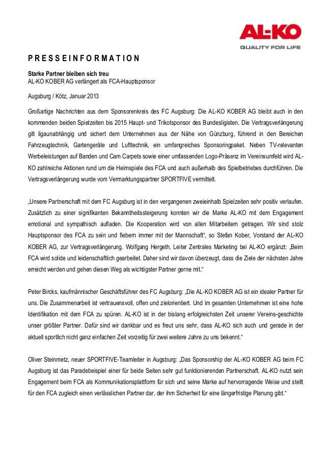 PRESSEINFORMATIONStarke Partner bleiben sich treuAL-KO KOBER AG verlängert als FCA-HauptsponsorAugsburg / Kötz, Januar 201...