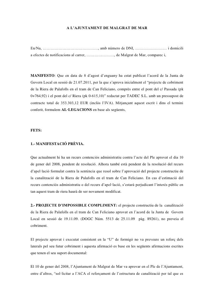 A L'AJUNTAMENT DE MALGRAT DE MAREn/Na, ……………………………………, amb número de DNI, …………………… i domicilia efectes de notificacions al...