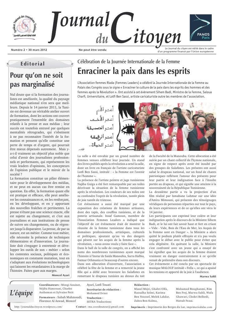 Le Journal du cityen est édité dans le cadreNuméro 2 • 30 mars 2012                             Ne peut être vendu        ...