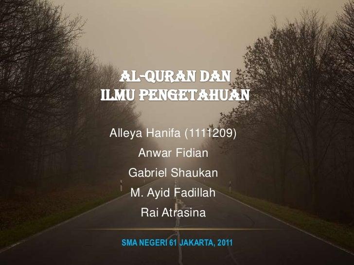 Al Quran dan Ilmu Pengetahuan