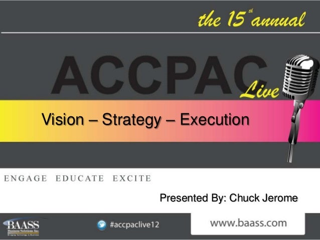 Vision – Strategy – Execution                Presented By: Chuck Jerome
