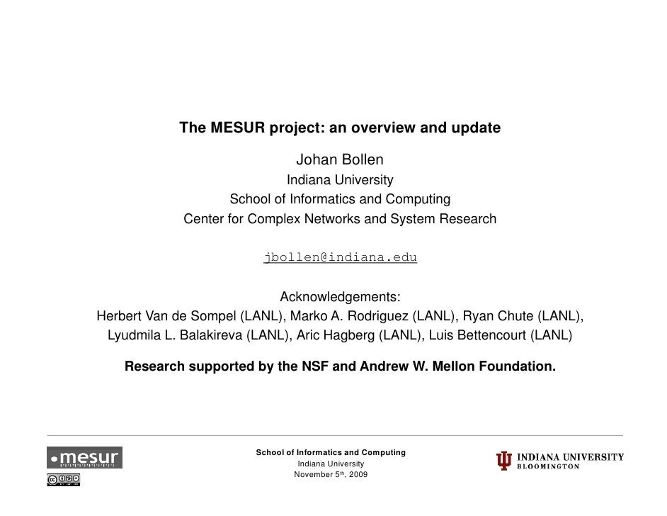 The MESUR project: an overview and update                                   Johan Bollen                               Ind...