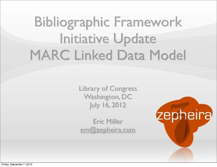 Bibliographic Framework                            Initiative Update                       MARC Linked Data Model         ...