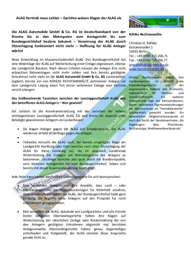 ALAG Vertrieb muss zahlen – Gerichte weisen Klagen der ALAG ab Die ALAG Automobile GmbH & Co. KG ist deutschlandweit von d...