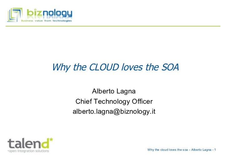 Why the CLOUD loves the SOA Alberto Lagna Chief Technology Officer [email_address]