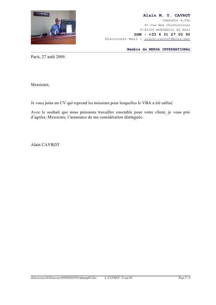 Alain Cavrot Cv Fr Vba Access