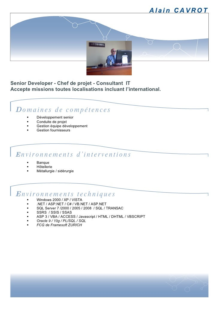 alain cavrot cv fr chef projet  net freelance
