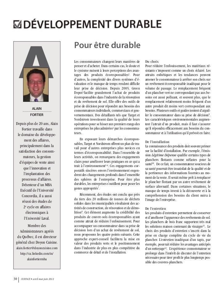 Magazine Surface - Pour être durable - Alain Fortier