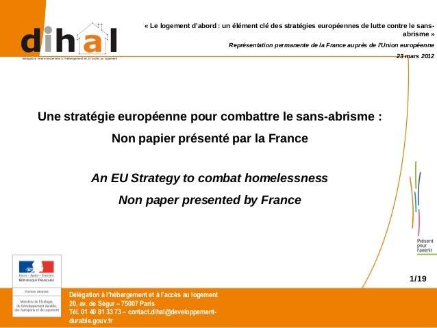 « Le logement d'abord : un élément clé des stratégies européennes de lutte contre le sans-                                ...