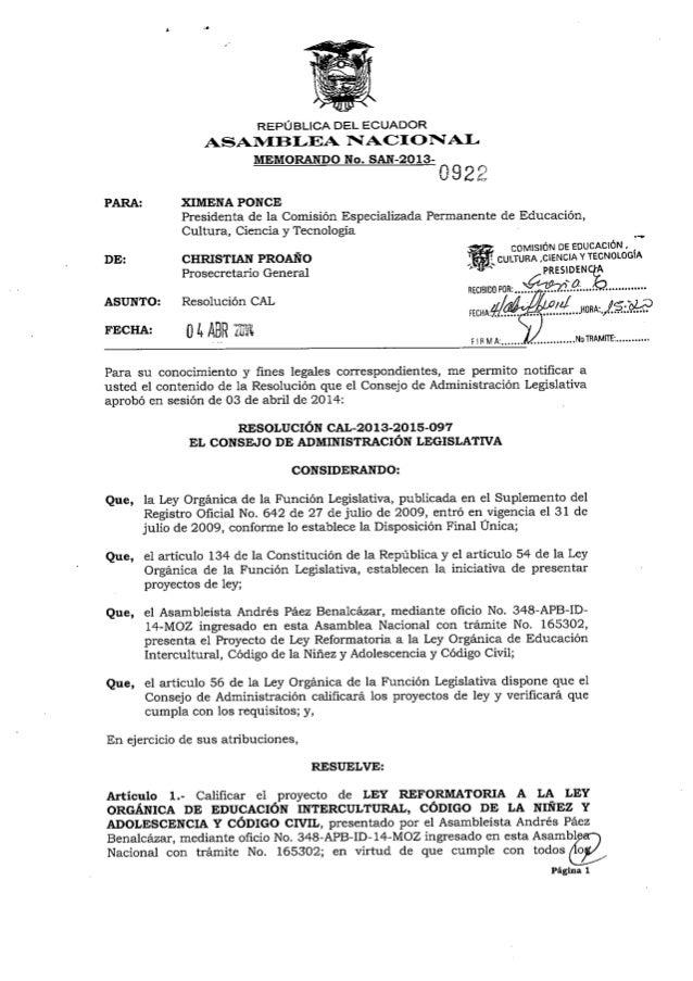 Proyecto de Ley Reformatoria a la Ley Orgánica de Educación Intercultural, Código de la Niñez y Adolescencia y Código Civil
