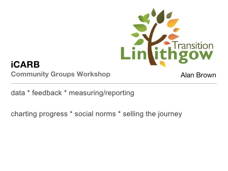 iCARB Community Groups Workshop <ul><li>data * feedback * measuring/reporting </li></ul><ul><li>charting progress * social...