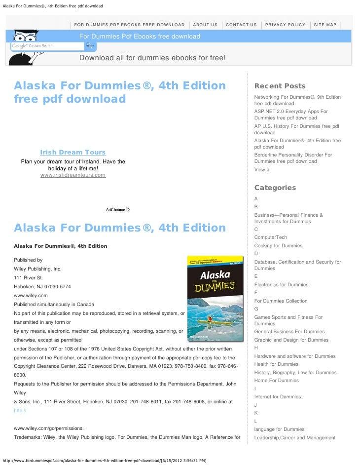 Alaska For Dummies®, 4th Edition free pdf download                                   FOR DUMMIES PDF EBOOKS FREE DOWNLOAD ...