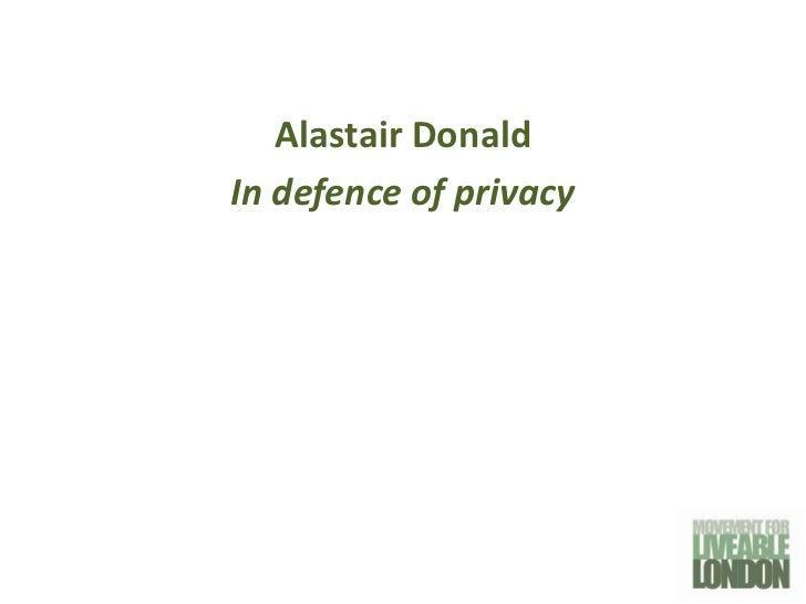 Movement for Liveable London Street Talks - Alastair Donald 6th December 2011
