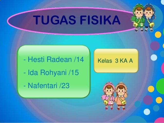 TUGAS FISIKA - Hesti Radean /14  - Ida Rohyani /15 - Nafentari /23  Kelas 3 KA A