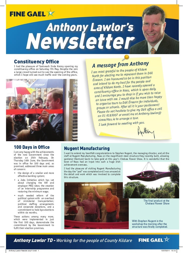 Anthony Lawlor's                  Newsletter      Constituency Office      I had the pleasure of Taoiseach Enda Kenny open...
