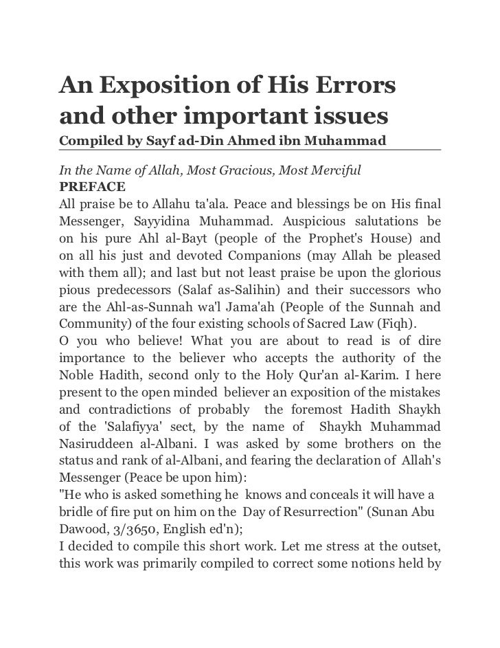 An Exposition of His Errorsand other important issuesCompiled by Sayf ad-Din Ahmed ibn MuhammadIn the Name of Allah, Most ...