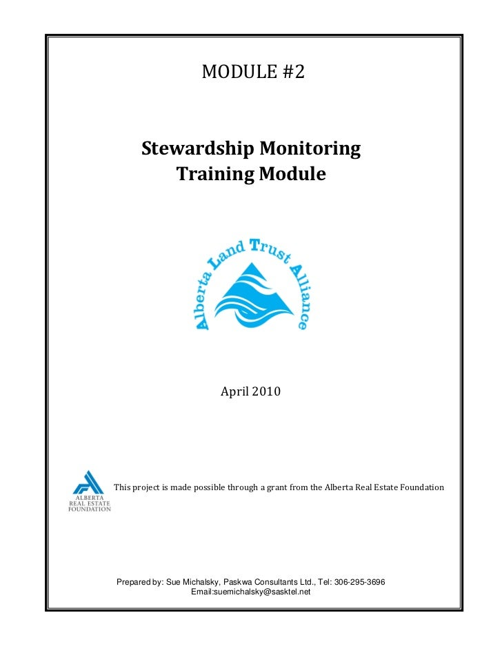 MODULE #2       Stewardship Monitoring          Training Module                           April 2010This project is made p...
