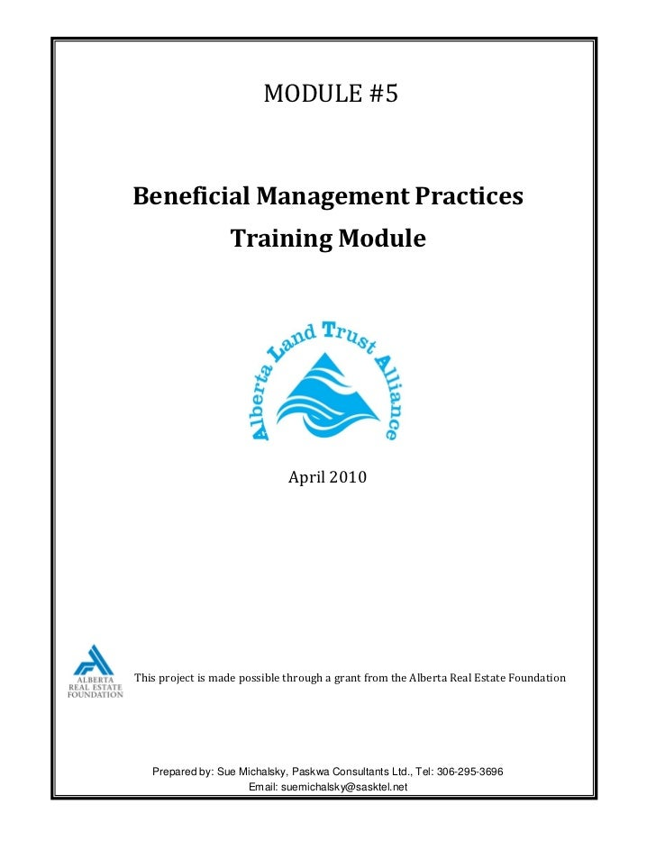 MODULE #5Beneficial Management Practices                  Training Module                              April 2010This proj...