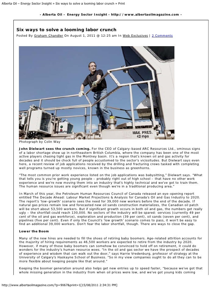 Alberta Oil – Energy Sector Insight » Six ways to solve a looming labor crunch » Print                          - Alberta ...