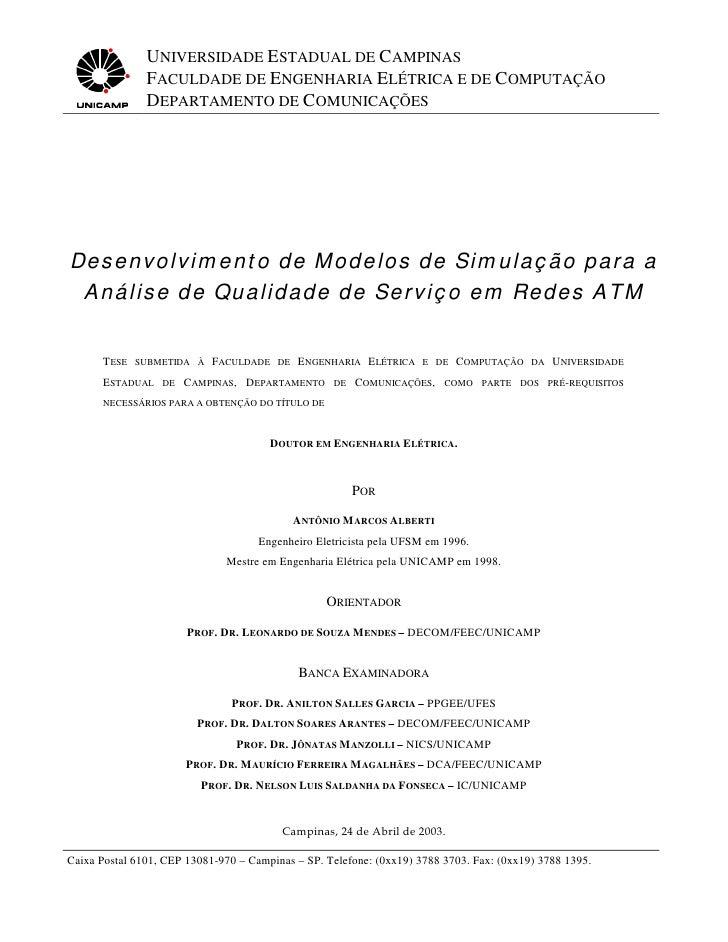 Desenvolvimento de Modelos de Simulação para a Análise de Qualidade de Serviço em Redes ATM