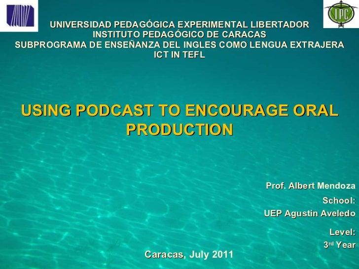 UNIVERSIDAD PEDAGÓGICA EXPERIMENTAL LIBERTADOR INSTITUTO PEDAGÓGICO DE CARACAS SUBPROGRAMA DE ENSEÑANZA DEL INGLES COMO LE...