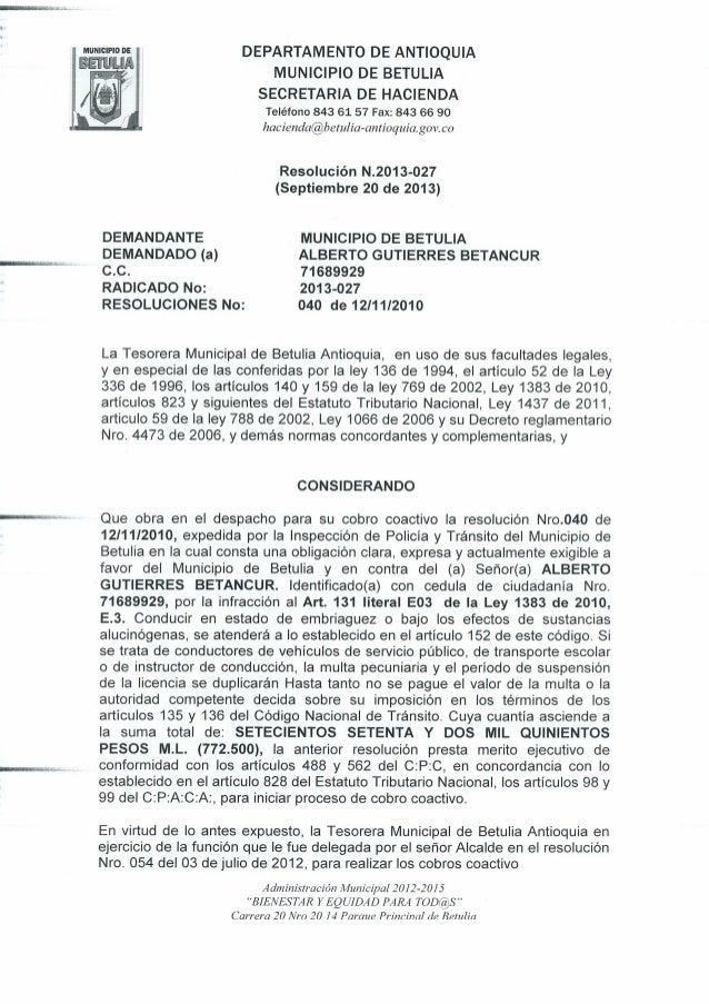 Resolucion N 2013-027 de Septiembre 20 de 2013