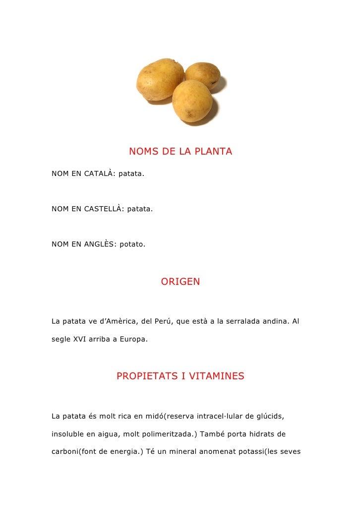 NOMS DE LA PLANTA  NOM EN CATALÀ: patata.    NOM EN CASTELLÀ: patata.    NOM EN ANGLÈS: potato.                           ...
