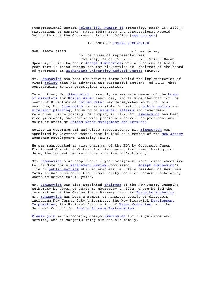 Albio sires joseph simunovich congressional record volume 153