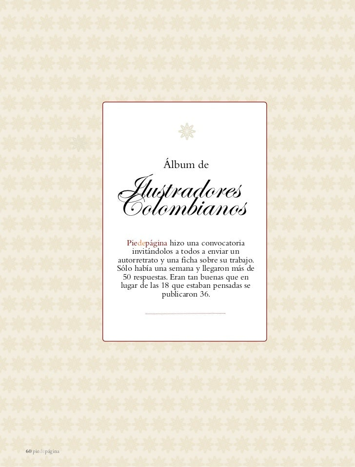 Álbum de                 Ilustradores                 Colombianos                    Piedepágina hizo una convocatoria    ...