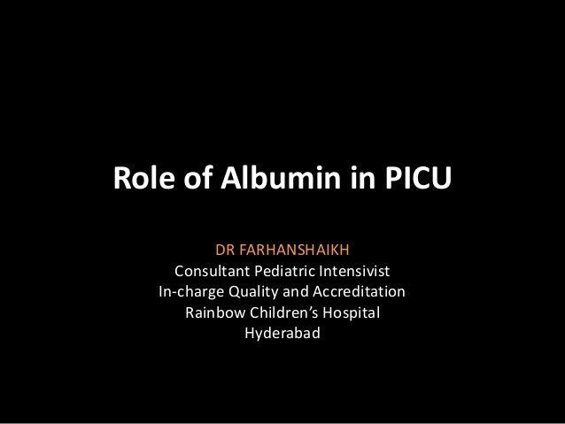 Albumin in pediatric critical care