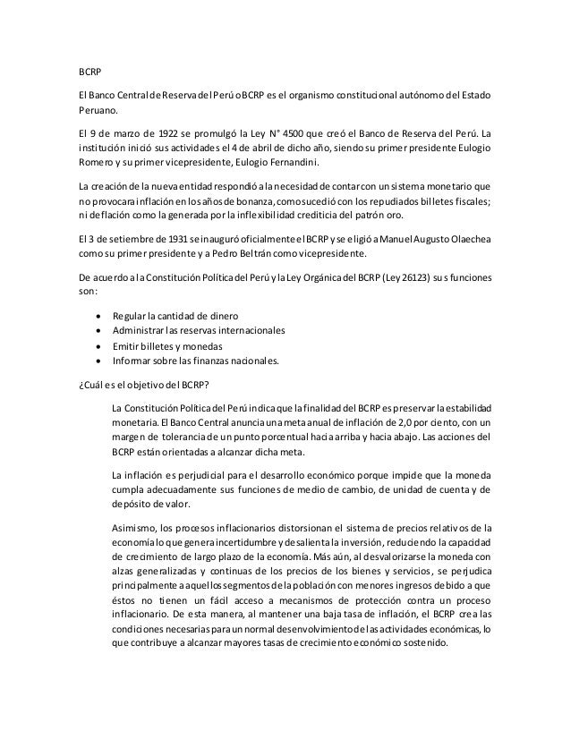 BCRP  El Banco Central de Reserva del Perú o BCRP es el organismo constitucional autónomo del Estado  Peruano.  El 9 de ma...