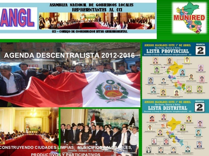 CONSTRUYENDO CIUDADES LIMPIAS;  MUNICIPIOS SALUDABLES,  PRODUCTIVOS Y PARTICIPATIVOS  AGENDA DESCENTRALISTA 2012-2016