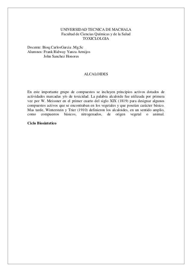 UNIVERSIDAD TECNICA DE MACHALA Facultad de Ciencias Químicas y de la Salud TOXICLOLGIA Docente: Bioq.CarlosGarcia .Mg,Sc A...