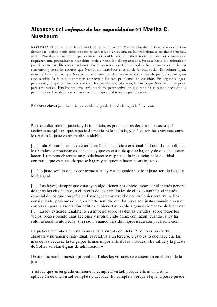 Alcances del enfoque de las capacidades en Martha C.NussbaumResumen: El enfoque de las capacidades propuesto por Martha Nu...