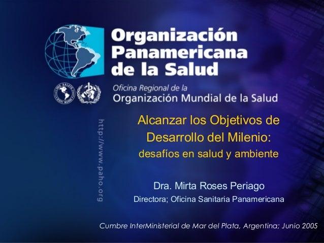 PAHO/WHO ; 2005 Organización Panamericana de la Salud Título de la presentación Autor Alcanzar los Objetivos de Desarrollo...