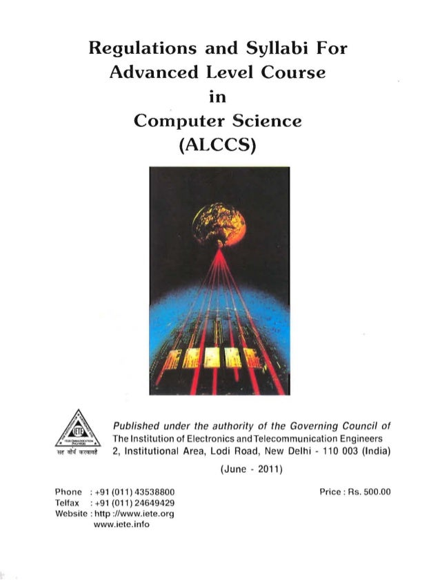 Regulations and Syllabi For   Advanced Level Course   • In Computer Science (ALCCS) Published under the authority of the G...