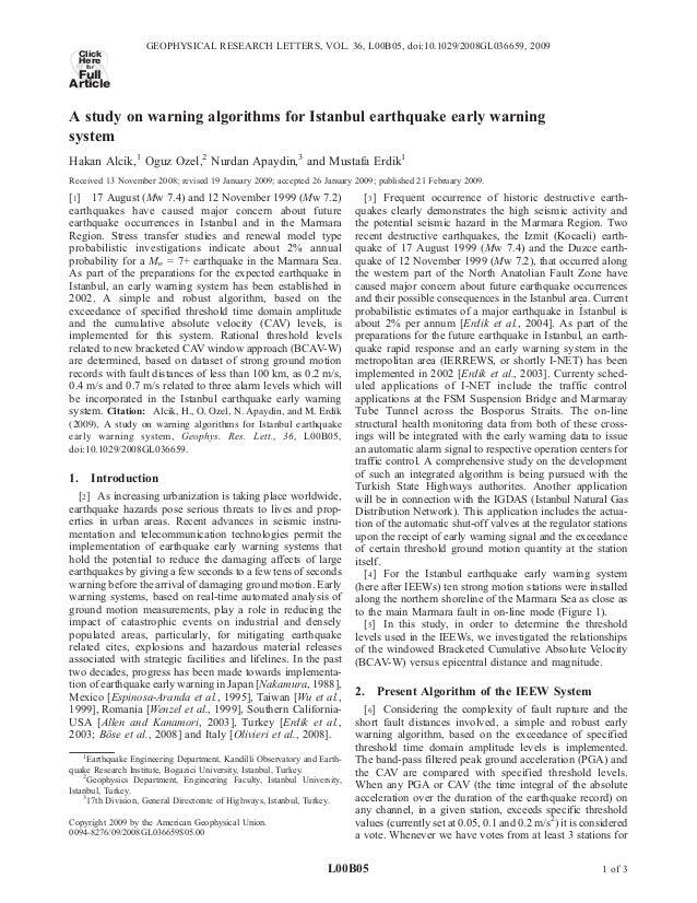 A study on warning algorithms for Istanbul earthquake early warning system Hakan Alcik,1 Oguz Ozel,2 Nurdan Apaydin,3 and ...