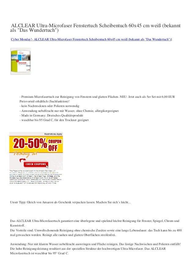 "ALCLEAR Ultra-Microfaser Fenstertuch Scheibentuch 60x45 cm weiß (bekanntals ""Das Wundertuch"")Cyber Monday!- ALCLEAR Ultra-..."