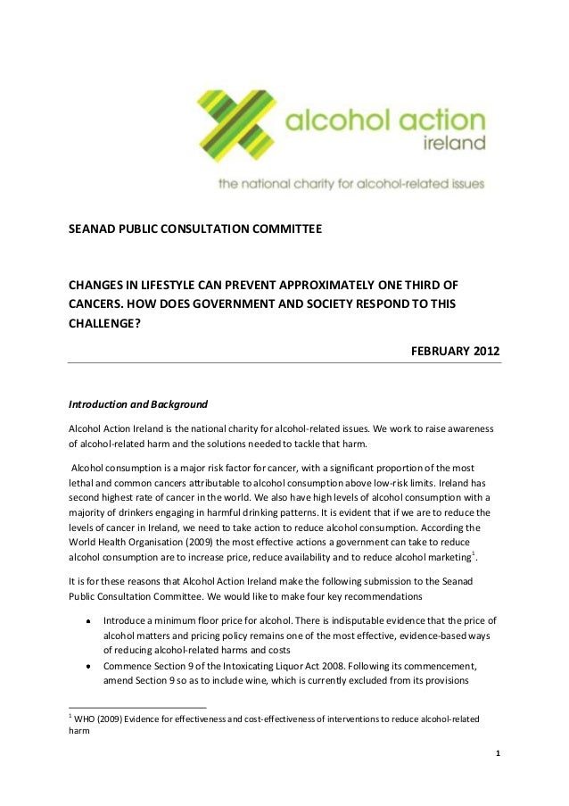 Alcohol and Cancer Submission to the Seanad Public Consultation Committee