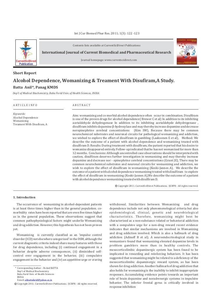 Alcohol dependence, womanizing & treament,a study pdf.