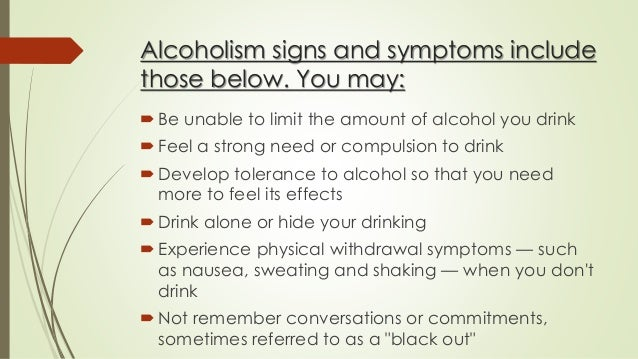 the main features of alcoholism and its effects