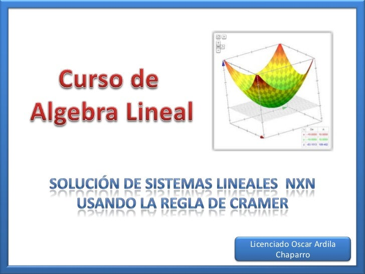 Solución de Sistemas Lineales Método de Cramer
