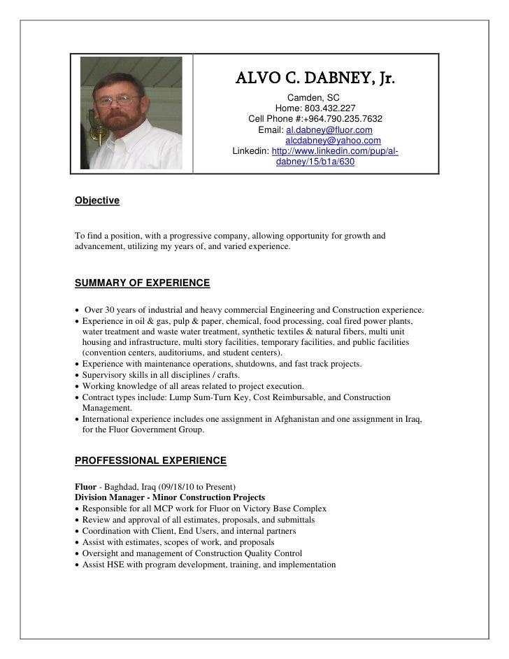 Al Dabney Professional Summary  September 2010