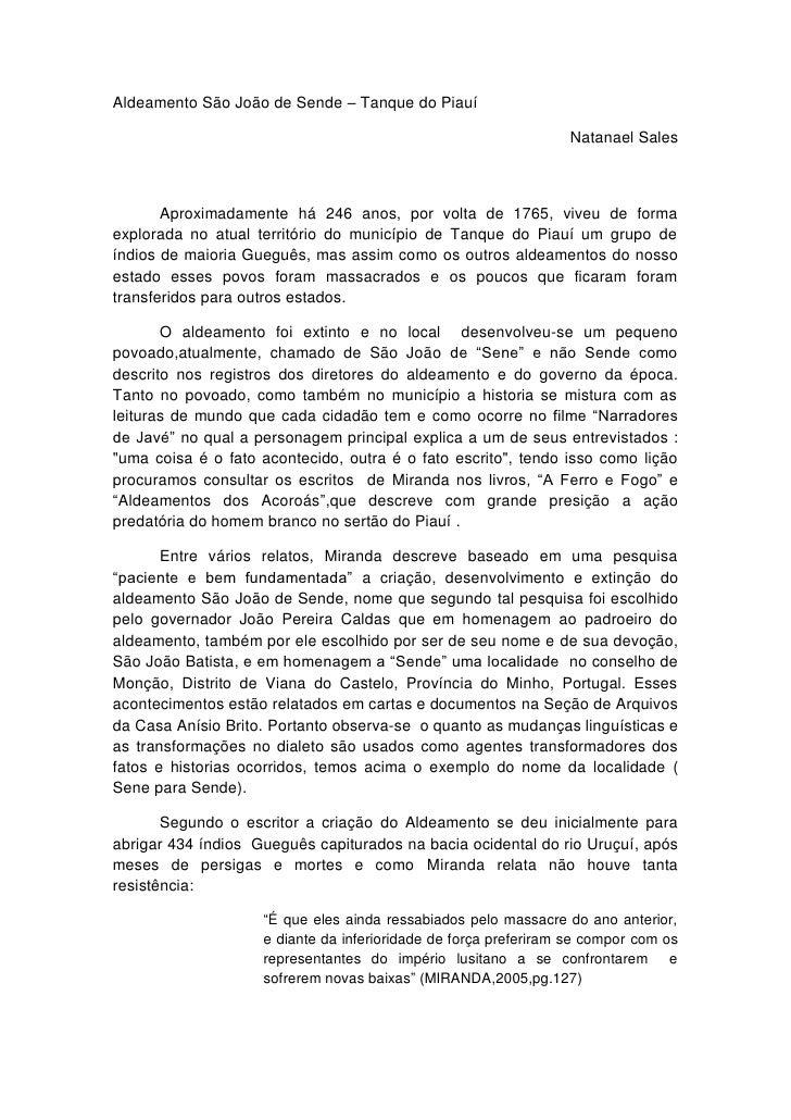 Aldeamento São João de Sende – Tanque do Piauí                                                                 Natanael Sa...
