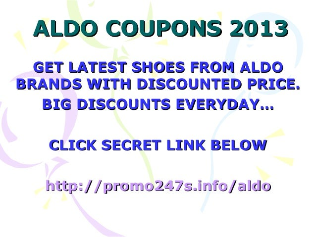 Aldo discount coupons