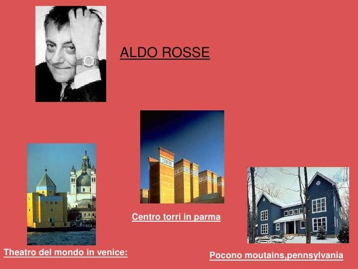 ALDO ROSSE                                    Centro torri in parma   Theatro del mondo in venice:                     Poc...