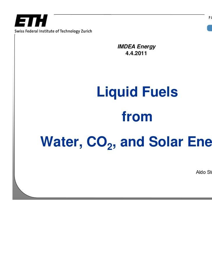 "Conferencia de Aldo Steinfeld ""Liquid Fuels from Water, CO2, and Solar Energy"""