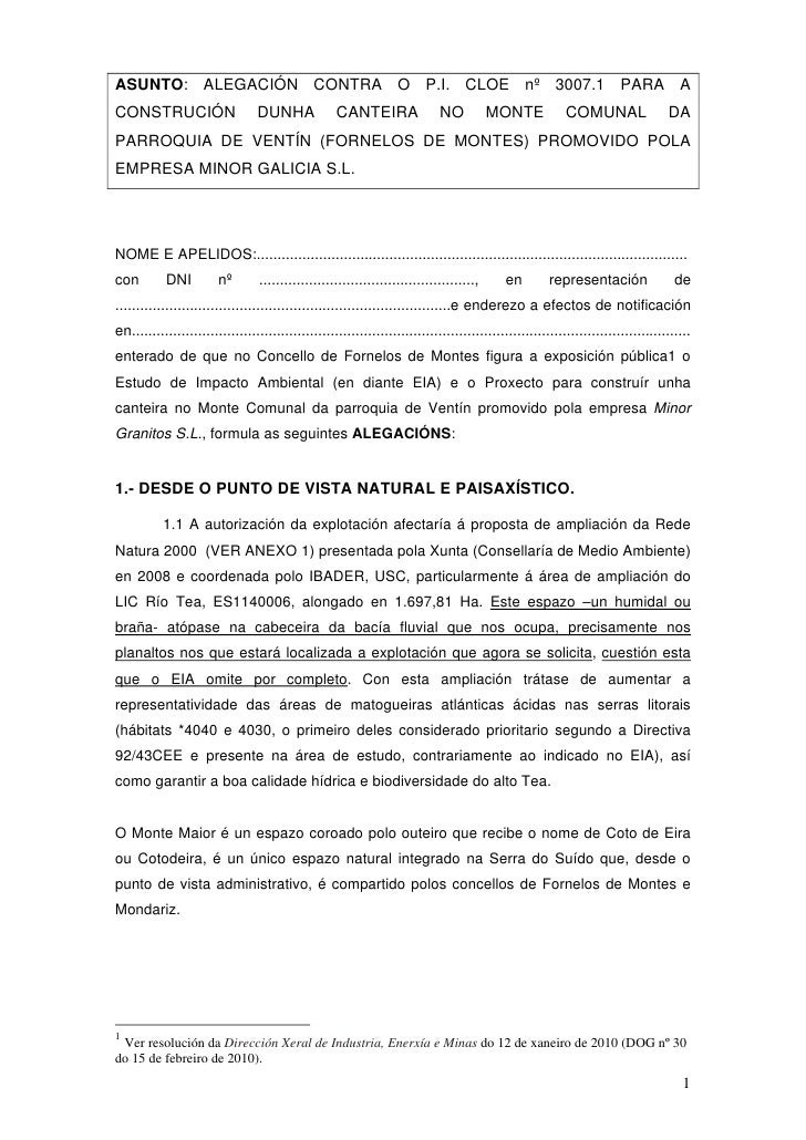 ASUNTO: ALEGACIÓN CONTRA O P.I. CLOE nº 3007.1 PARA A CONSTRUCIÓN                      DUNHA              CANTEIRA        ...