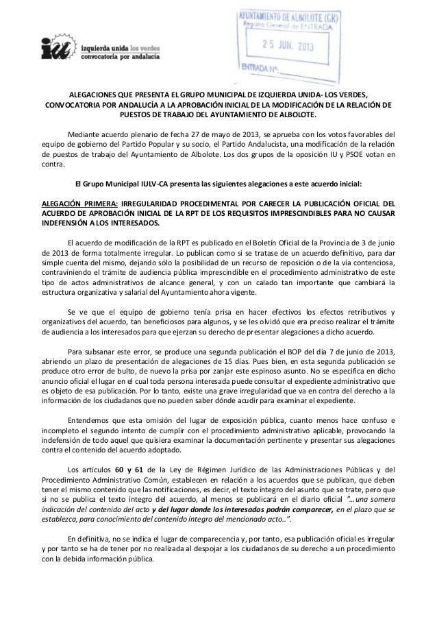 ALEGACIONES QUE PRESENTA EL GRUPO MUNICIPAL DE IZQUIERDA UNIDA- LOS VERDES,CONVOCATORIA POR ANDALUCÍA A LA APROBACIÓN INIC...